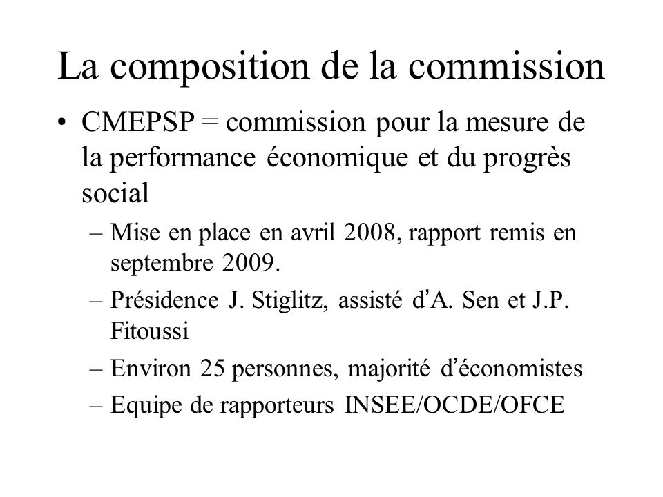 La composition de la commission