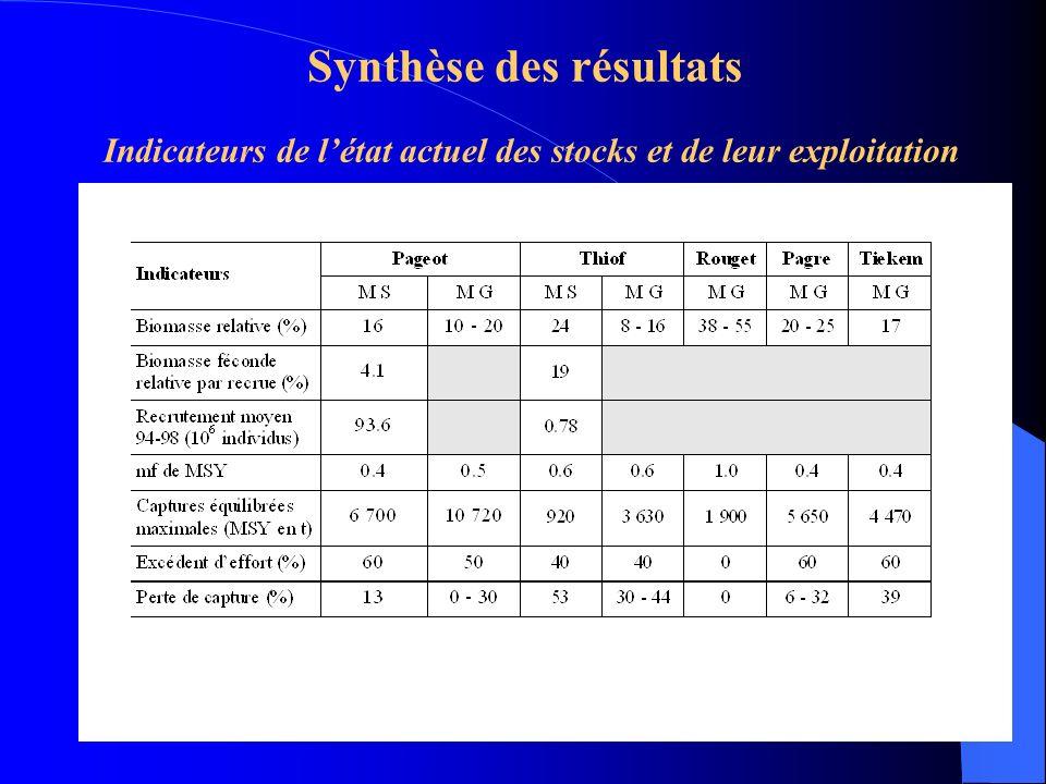 Synthèse des résultats Indicateurs de l'état actuel des stocks et de leur exploitation