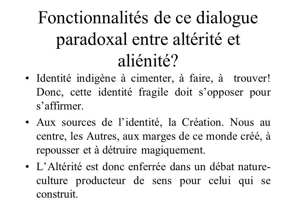 Fonctionnalités de ce dialogue paradoxal entre altérité et aliénité