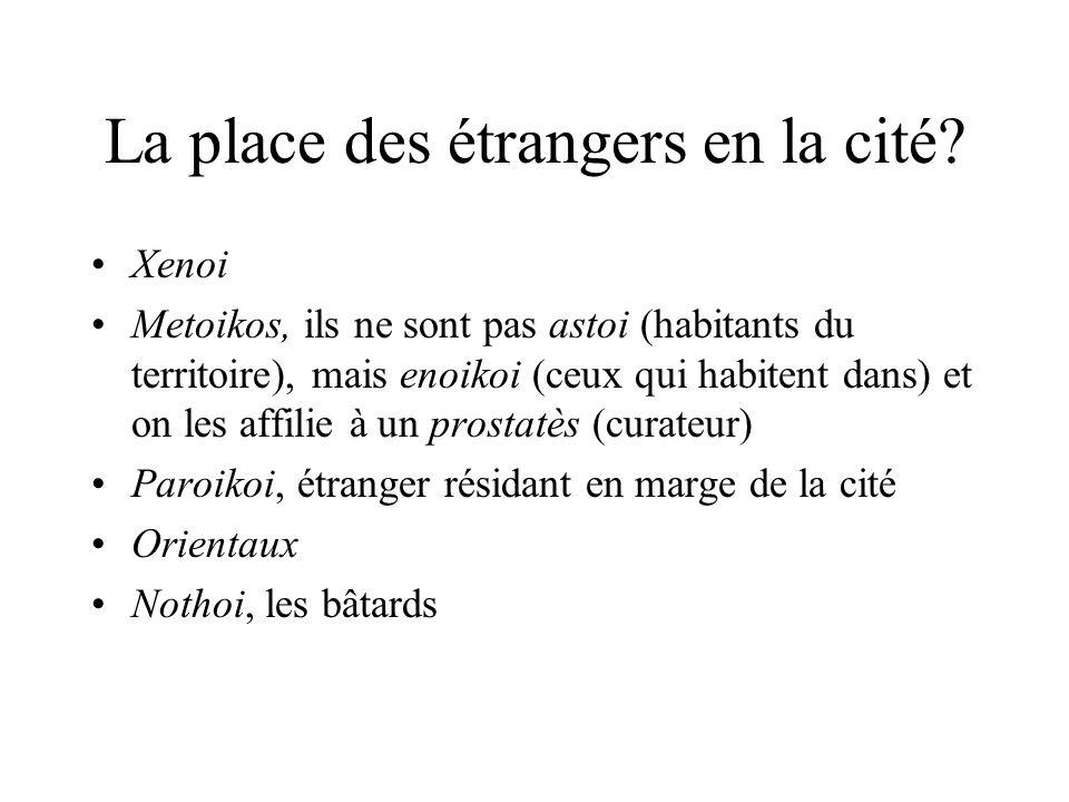 La place des étrangers en la cité