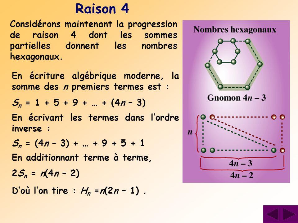 Raison 4 Considérons maintenant la progression de raison 4 dont les sommes partielles donnent les nombres hexagonaux.