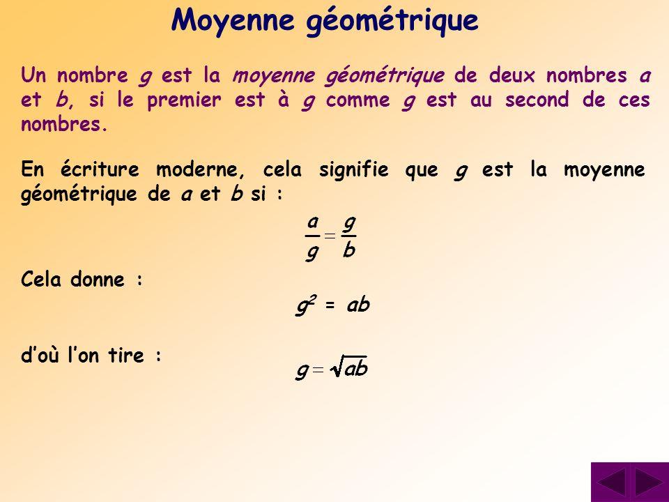 Moyenne géométrique Un nombre g est la moyenne géométrique de deux nombres a et b, si le premier est à g comme g est au second de ces nombres.
