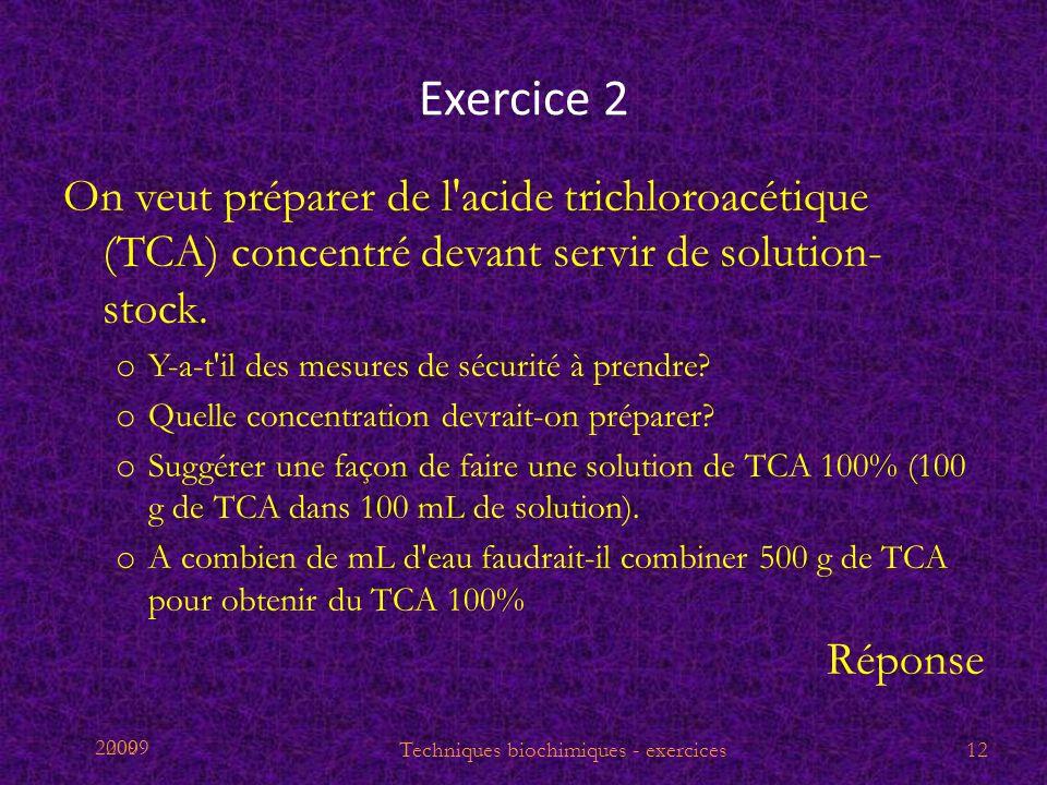 Techniques biochimiques - exercices