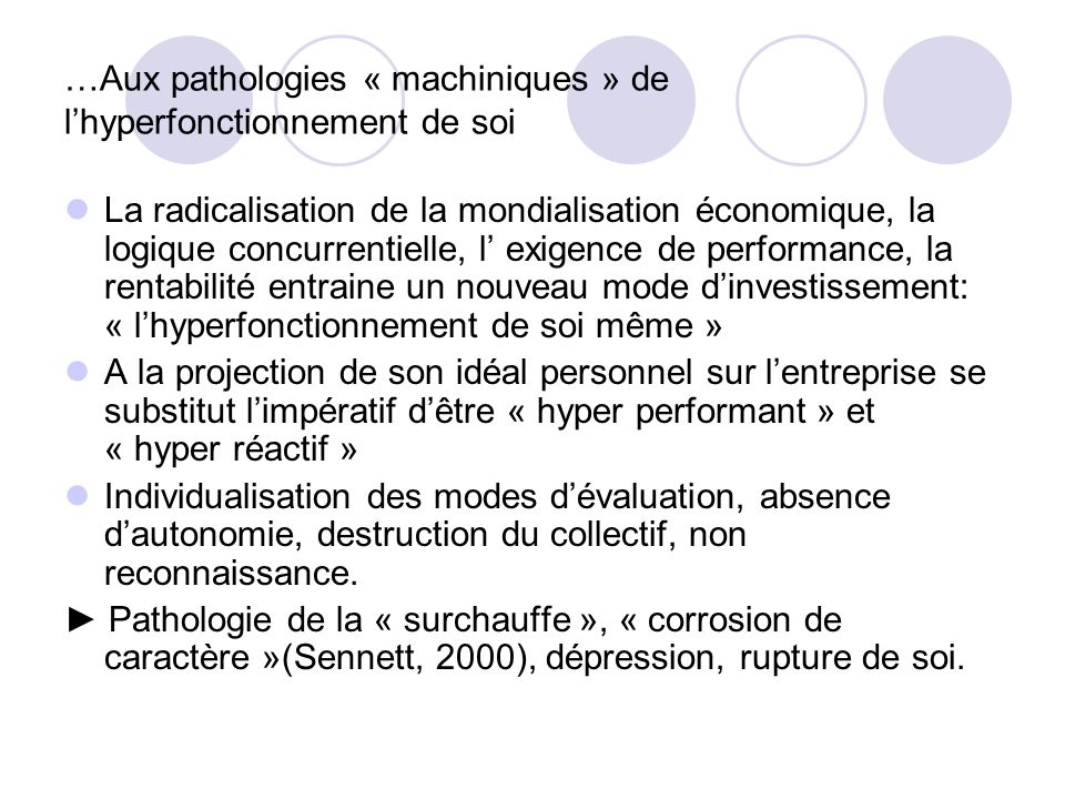 …Aux pathologies « machiniques » de l'hyperfonctionnement de soi