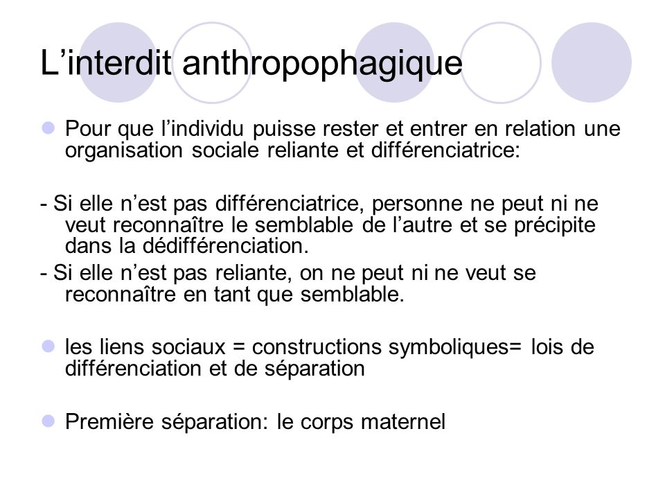 L'interdit anthropophagique