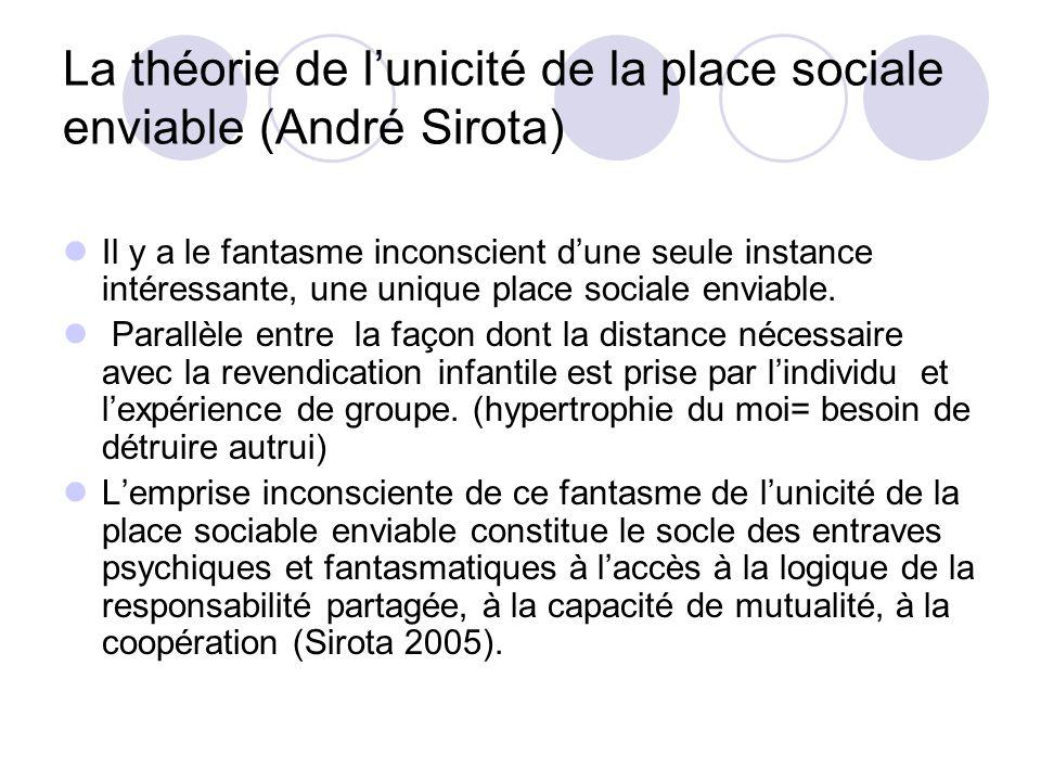La théorie de l'unicité de la place sociale enviable (André Sirota)
