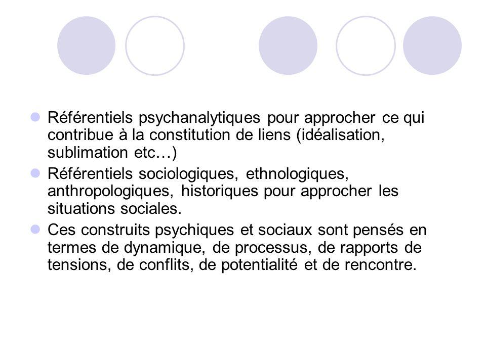 Référentiels psychanalytiques pour approcher ce qui contribue à la constitution de liens (idéalisation, sublimation etc…)