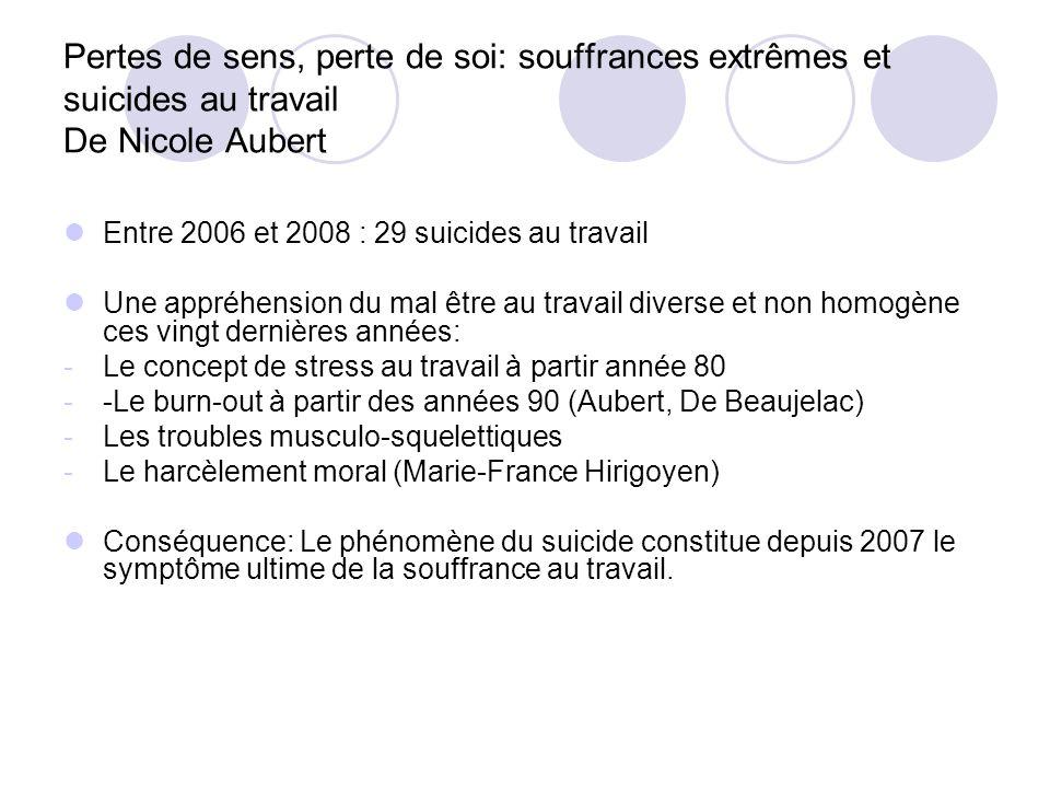 Pertes de sens, perte de soi: souffrances extrêmes et suicides au travail De Nicole Aubert