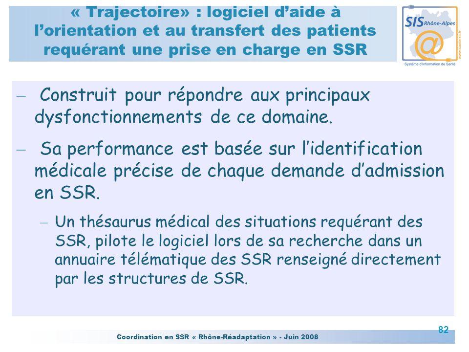 « Trajectoire» : logiciel d'aide à l'orientation et au transfert des patients requérant une prise en charge en SSR