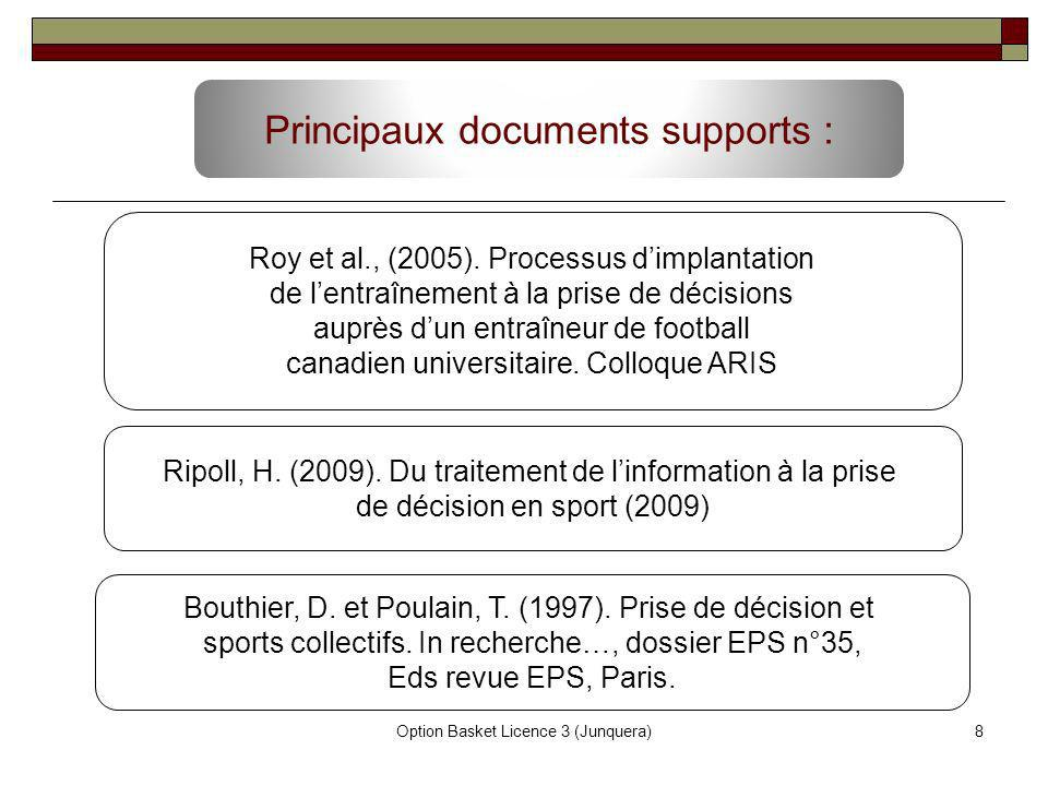 Principaux documents supports :
