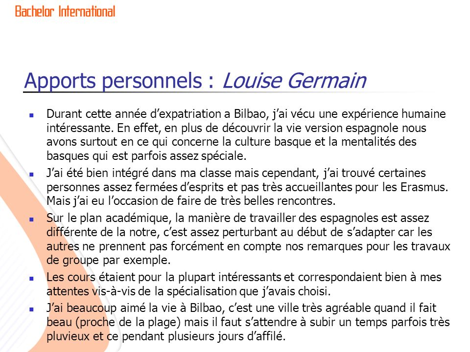 Apports personnels : Louise Germain