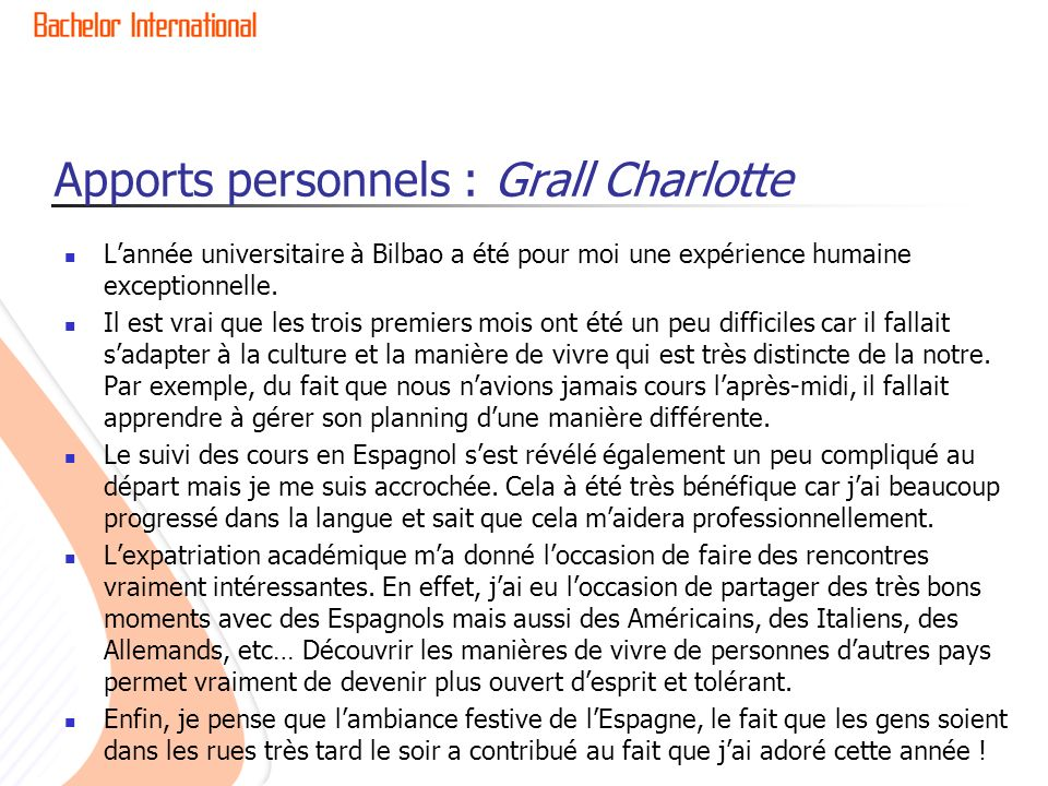 Apports personnels : Grall Charlotte