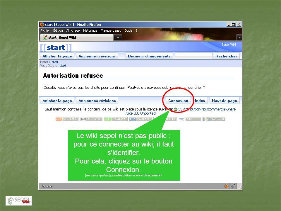 Le wiki sepol n'est pas public ; pour ce connecter au wiki, il faut s'identifier.
