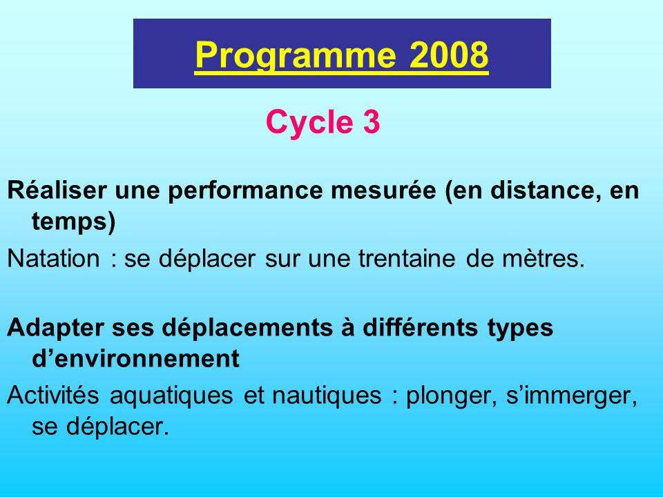 programme 2002 Programme 2008 Cycle 3