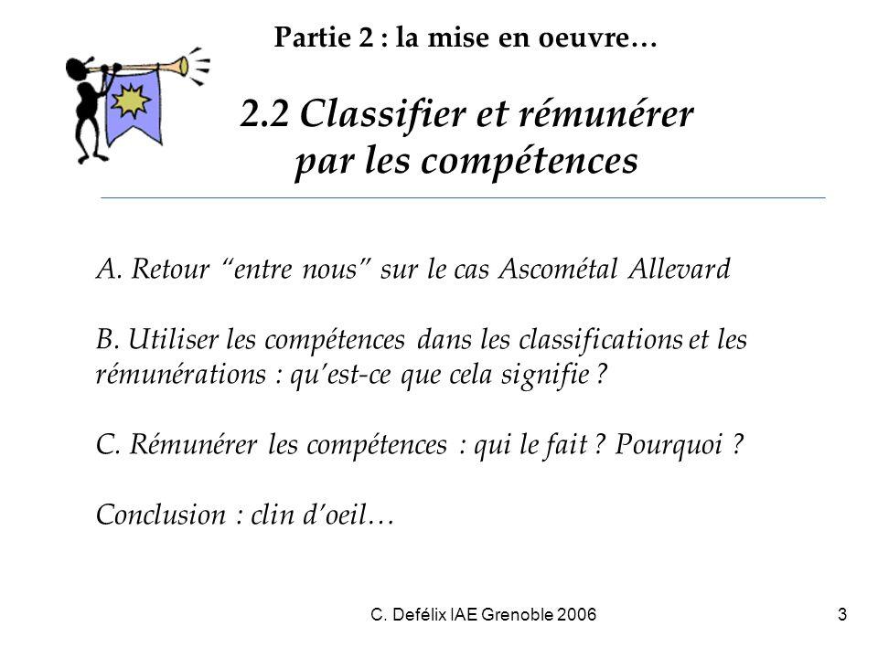 Partie 2 : la mise en oeuvre… 2.2 Classifier et rémunérer