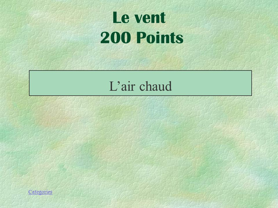 Le vent 200 Points L'air chaud