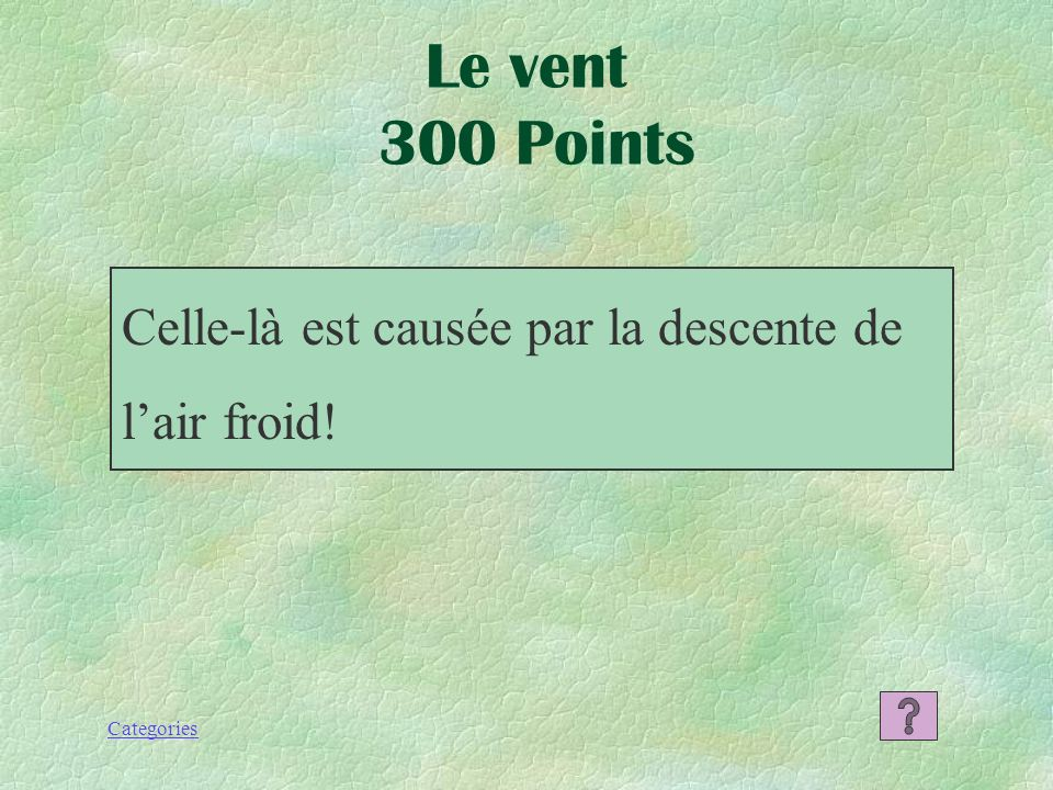 Le vent 300 Points Celle-là est causée par la descente de l'air froid!