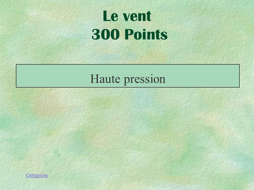 Le vent 300 Points Haute pression