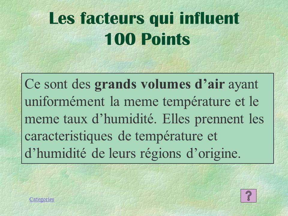 Les facteurs qui influent 100 Points