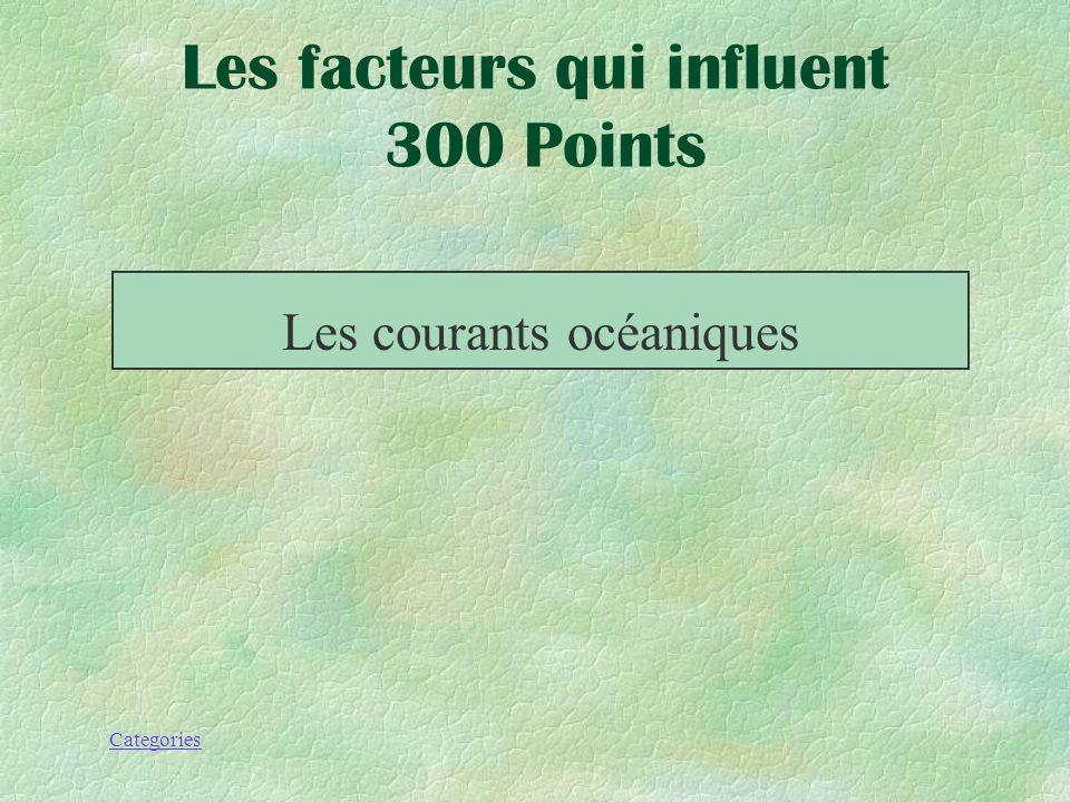 Les facteurs qui influent 300 Points