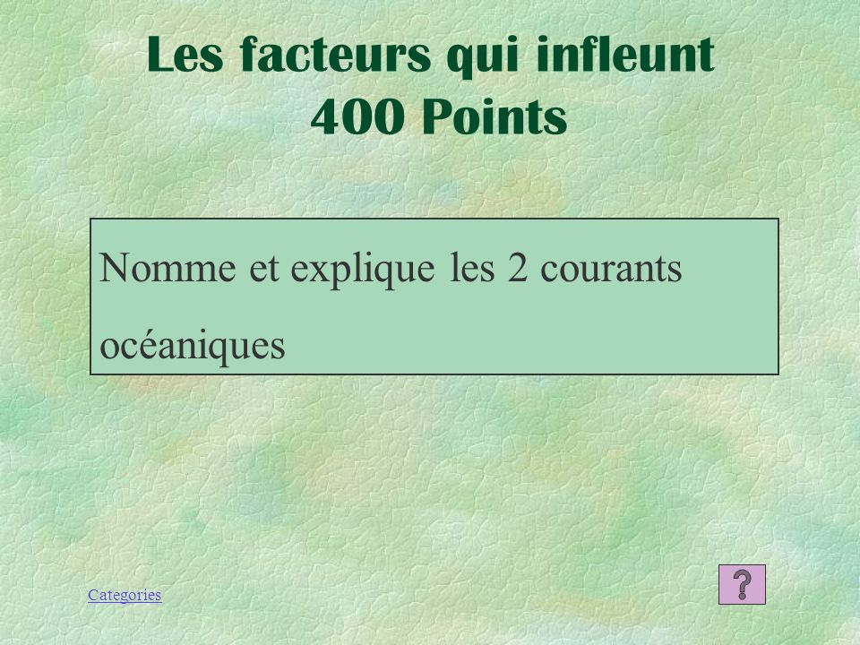 Les facteurs qui infleunt 400 Points