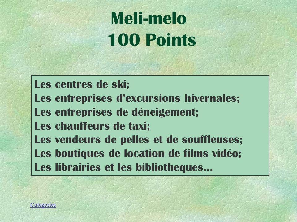 Meli-melo 100 Points Les centres de ski;