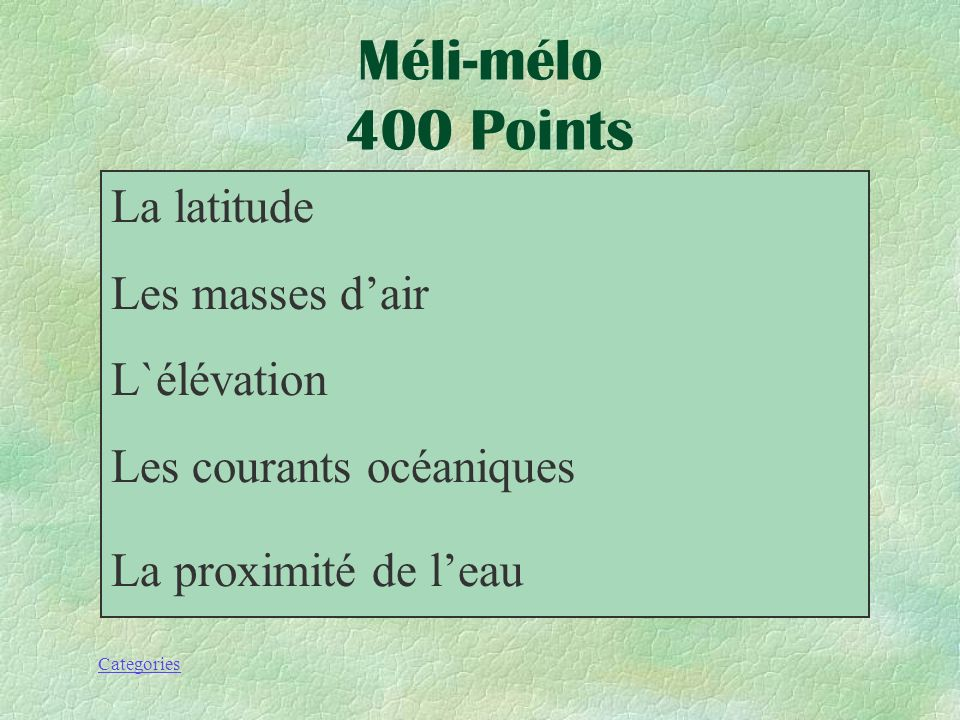 Méli-mélo 400 Points La latitude Les masses d'air L`élévation