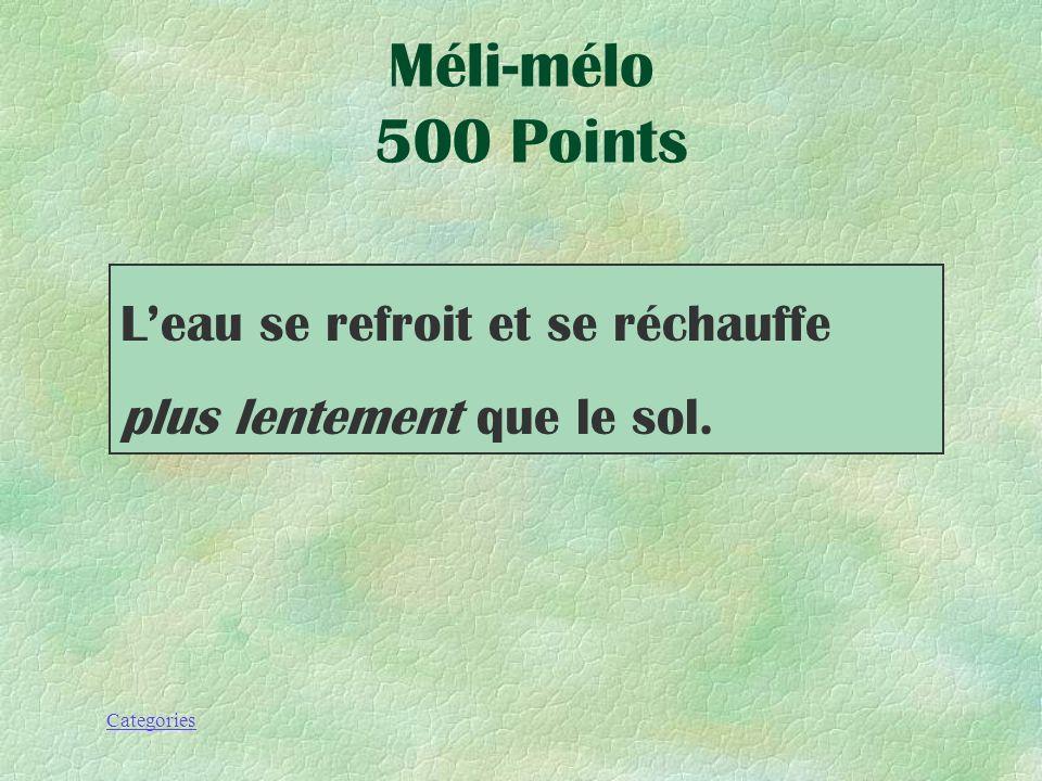 Méli-mélo 500 Points L'eau se refroit et se réchauffe plus lentement que le sol.
