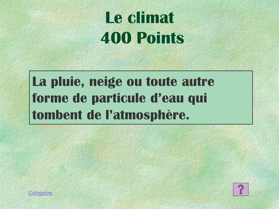 Le climat 400 Points La pluie, neige ou toute autre forme de particule d'eau qui tombent de l'atmosphère.