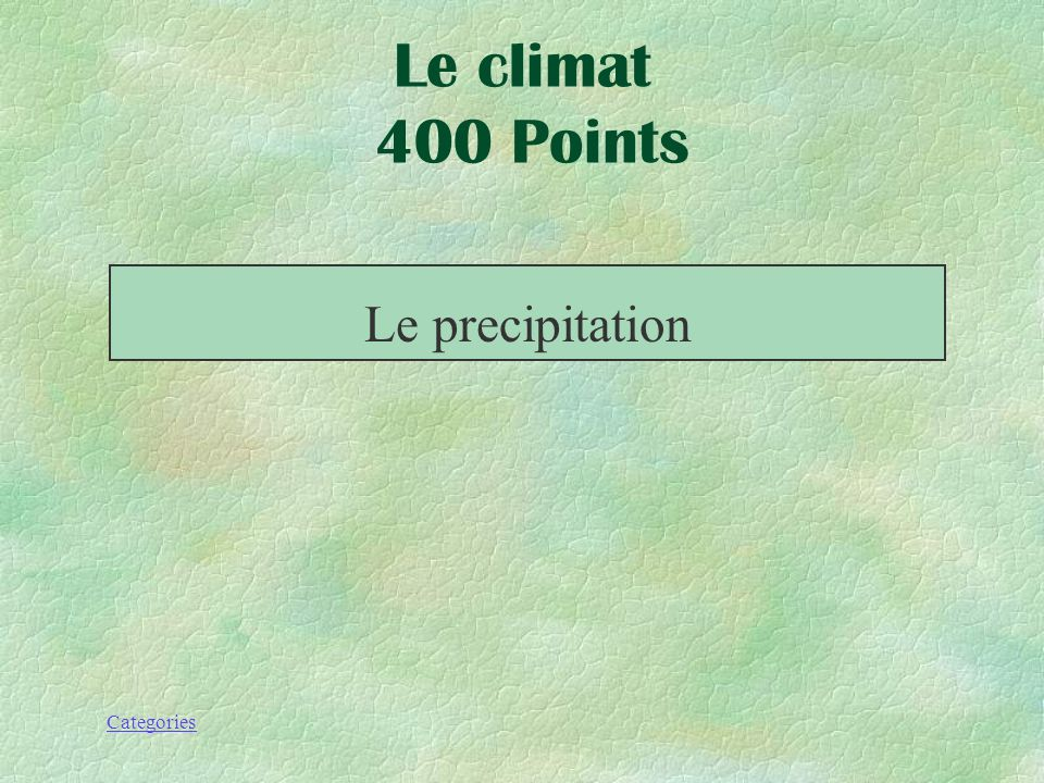 Le climat 400 Points Le precipitation