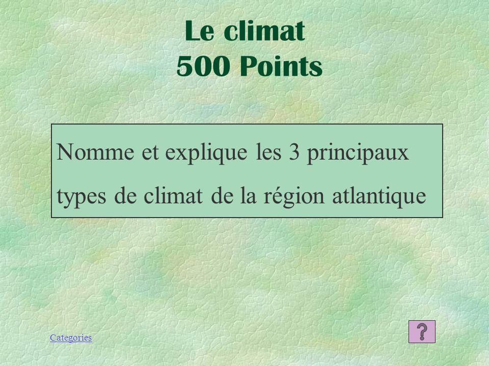 Le climat 500 Points Nomme et explique les 3 principaux types de climat de la région atlantique