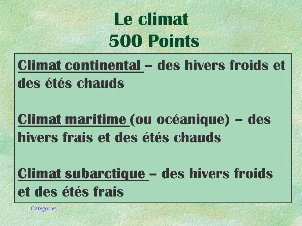 Le climat 500 Points Climat continental – des hivers froids et des étés chauds.