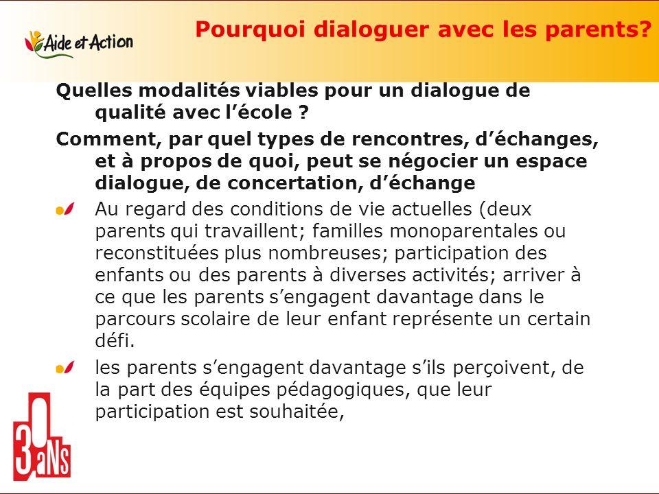 Pourquoi dialoguer avec les parents