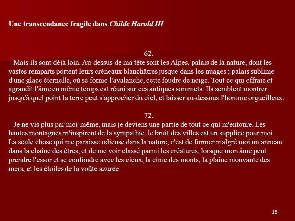 Une transcendance fragile dans Childe Harold III
