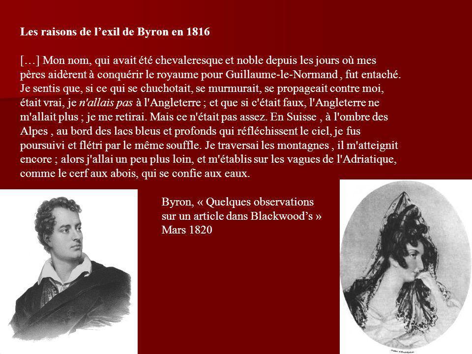 Les raisons de l'exil de Byron en 1816