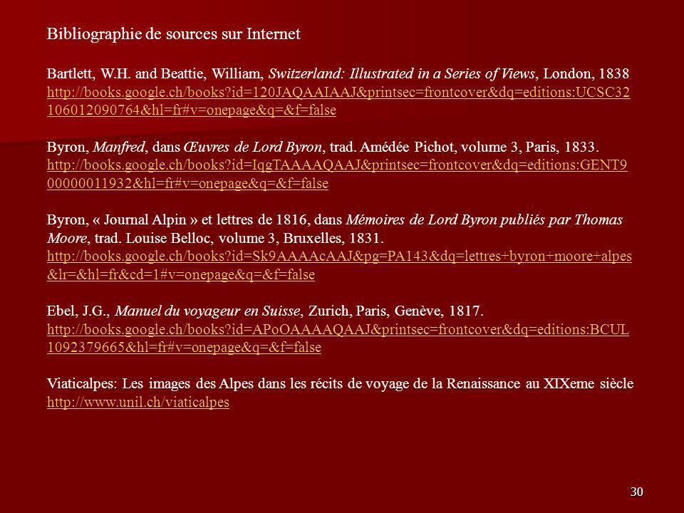 Bibliographie de sources sur Internet