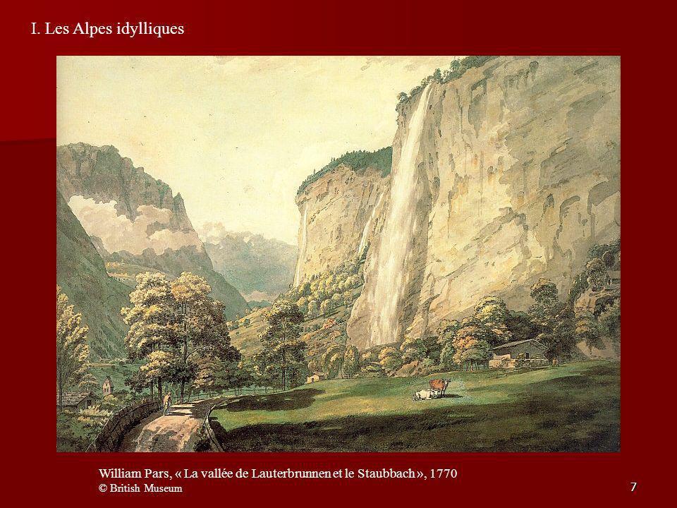 I. Les Alpes idylliques William Pars, « La vallée de Lauterbrunnen et le Staubbach », 1770.
