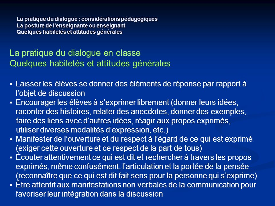 La pratique du dialogue en classe