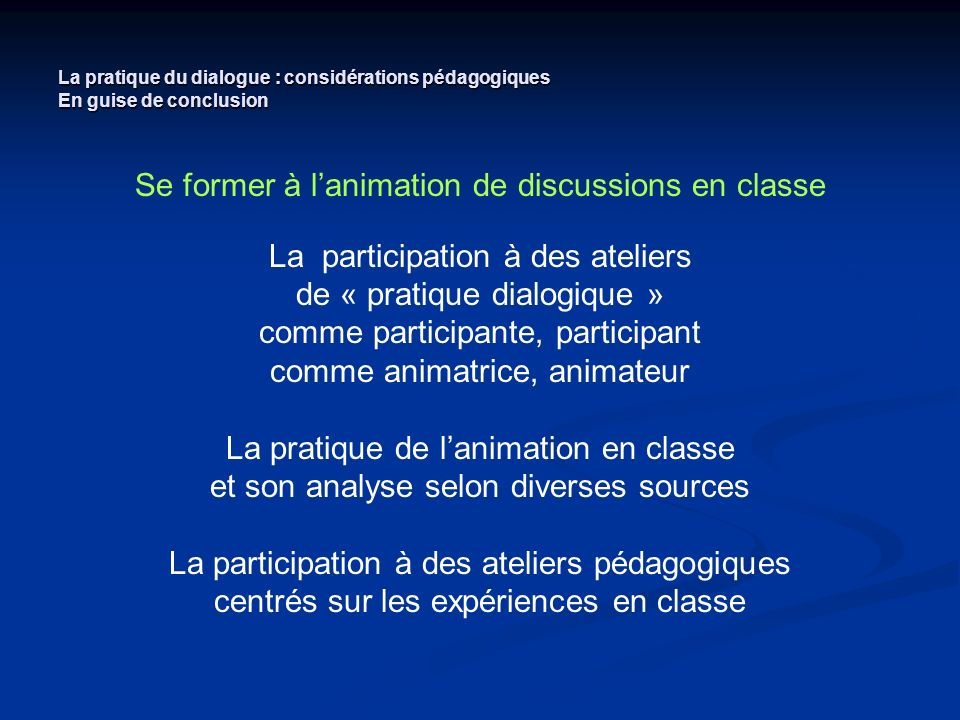 Se former à l'animation de discussions en classe