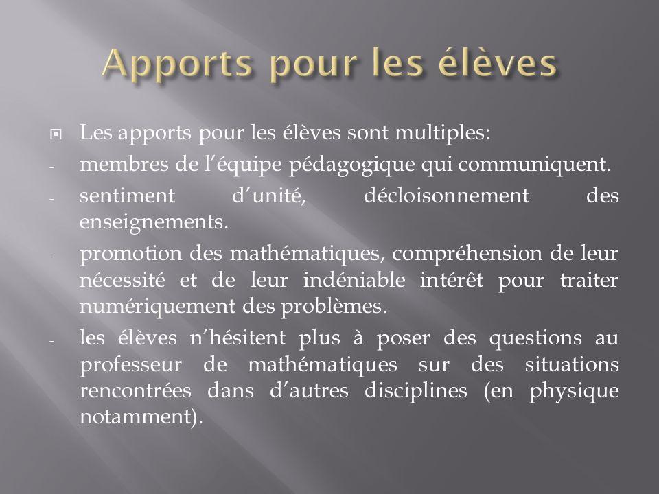 Apports pour les élèves