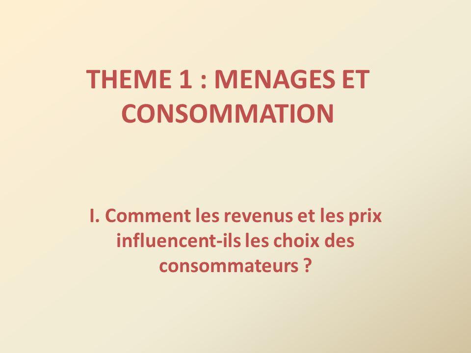 THEME 1 : MENAGES ET CONSOMMATION
