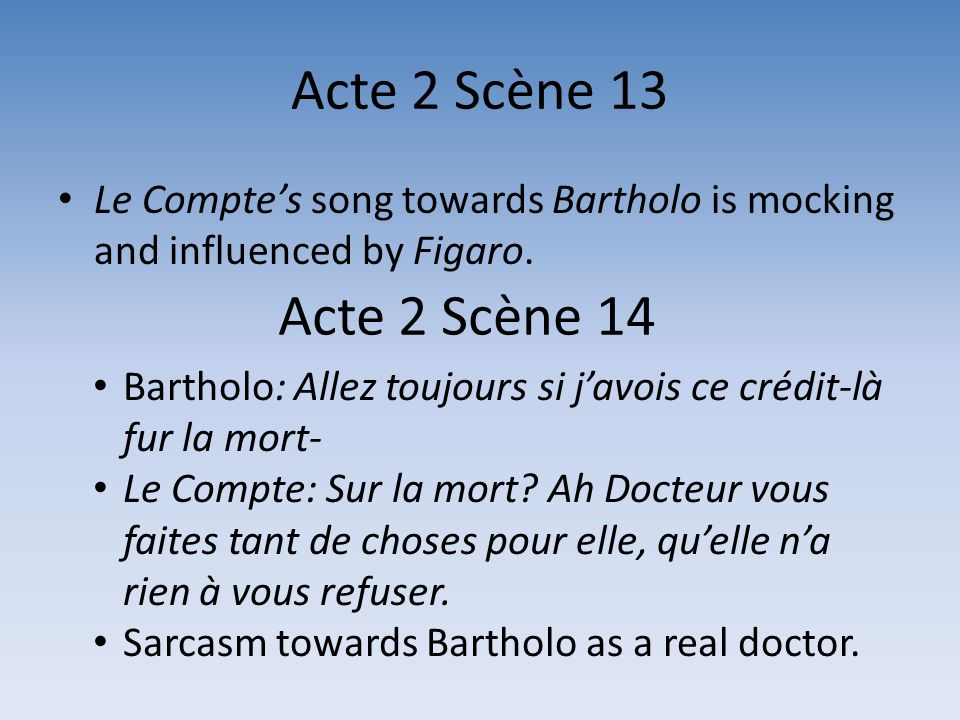 Acte 2 Scène 13 Le Compte's song towards Bartholo is mocking and influenced by Figaro. Acte 2 Scène 14.