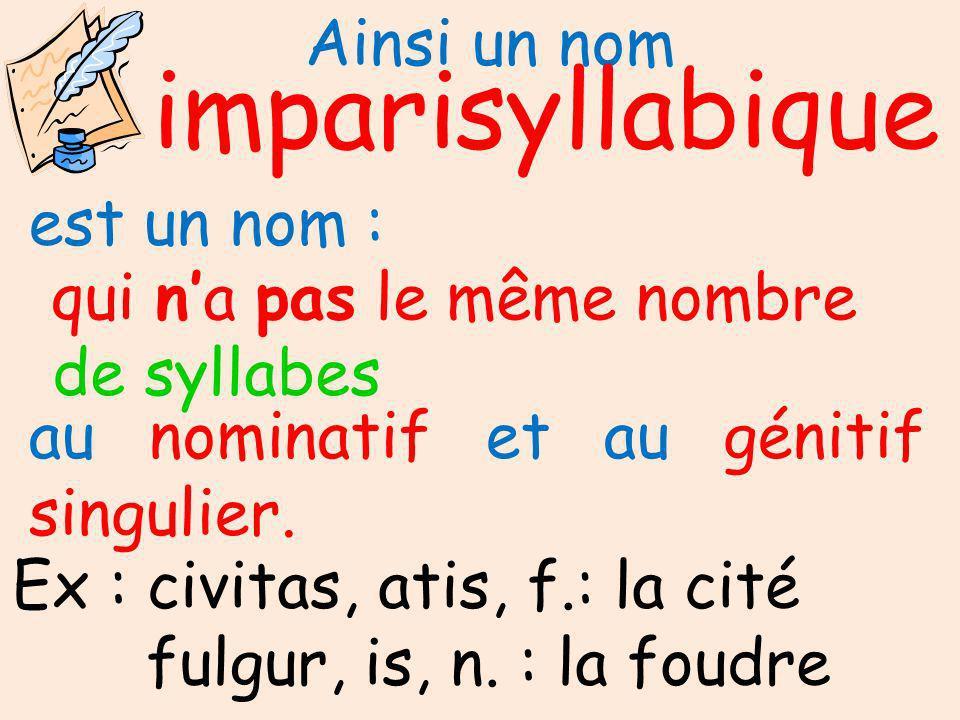 impari syllabique Ainsi un nom est un nom : qui n'a pas le même nombre