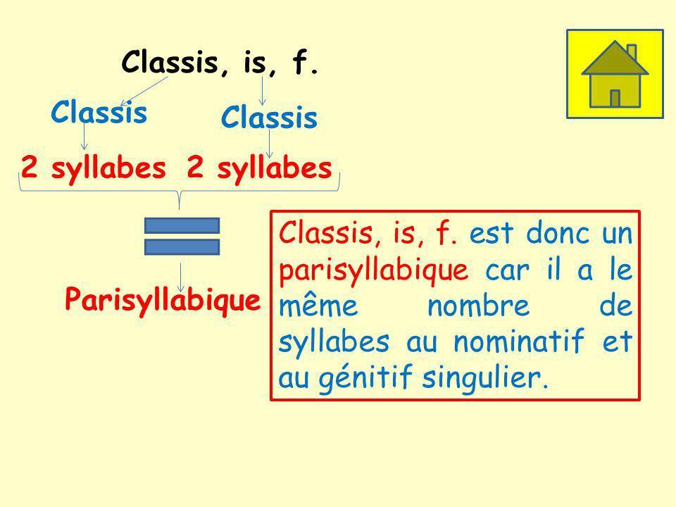 Classis, is, f. Classis. Classis. 2 syllabes. 2 syllabes.