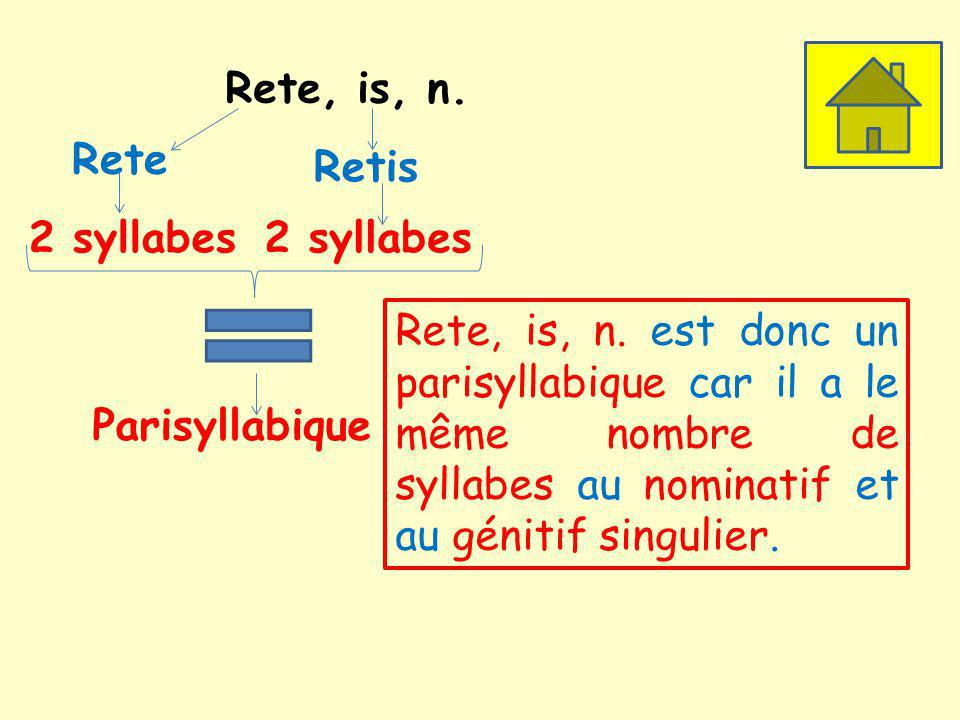 Rete, is, n. Rete. Retis. 2 syllabes. 2 syllabes.