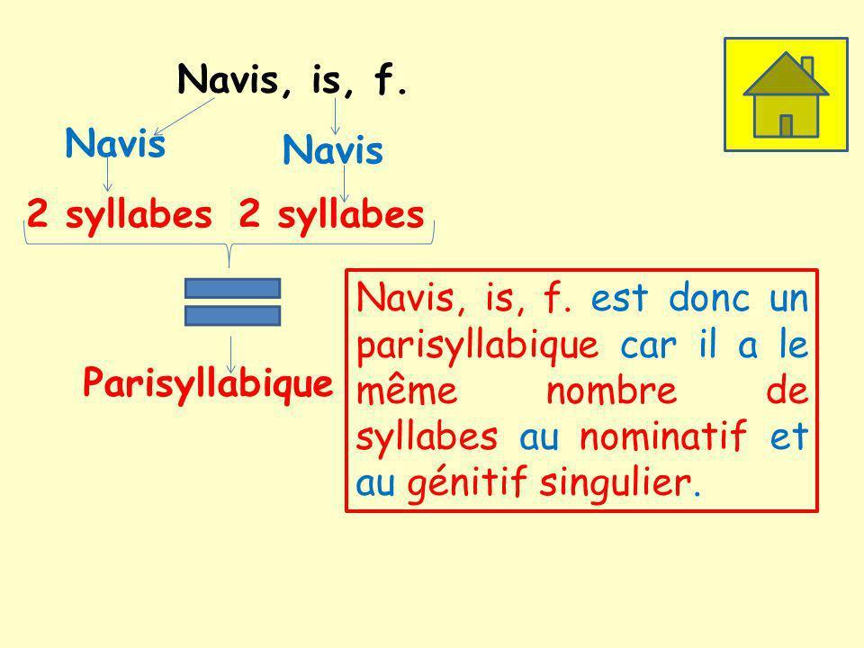 Navis, is, f. Navis. Navis. 2 syllabes. 2 syllabes.