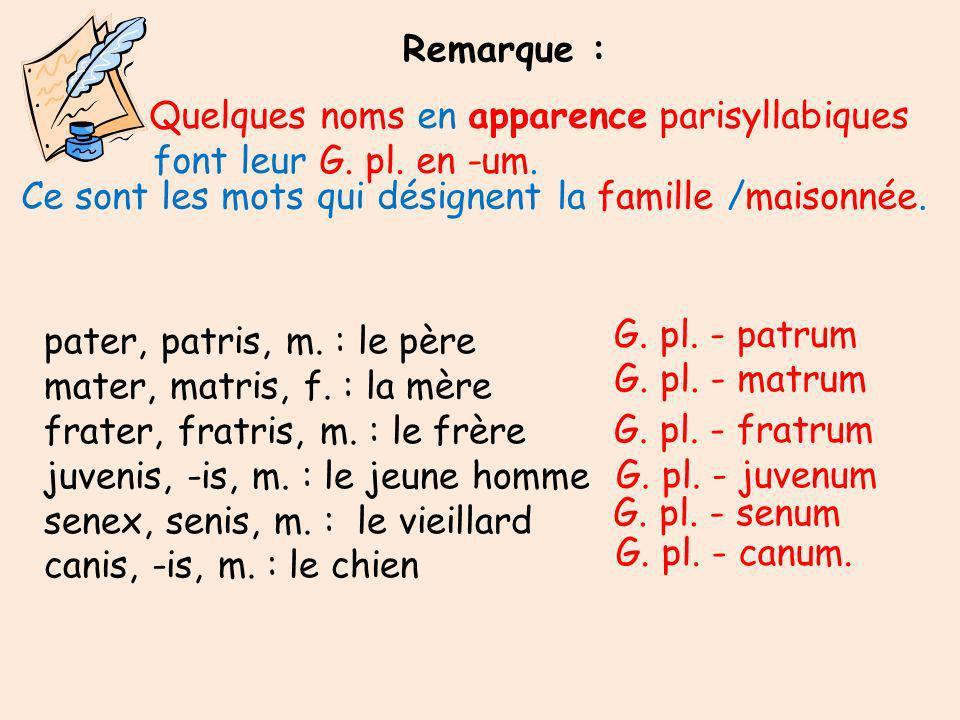 Remarque : Quelques noms en apparence parisyllabiques. font leur G. pl. en -um. Ce sont les mots qui désignent la famille /maisonnée.