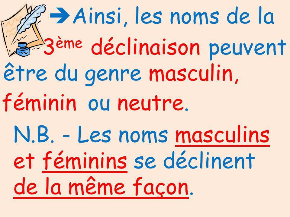 Ainsi, les noms de la 3ème déclinaison peuvent être du genre. masculin, féminin. ou neutre.