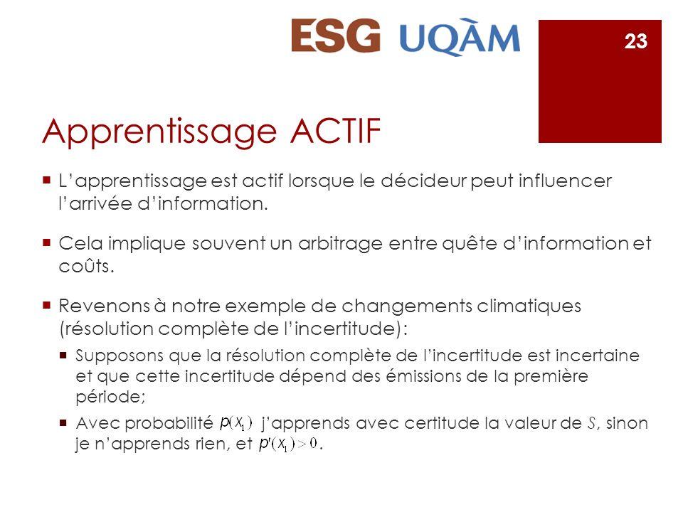 Apprentissage ACTIF L'apprentissage est actif lorsque le décideur peut influencer l'arrivée d'information.