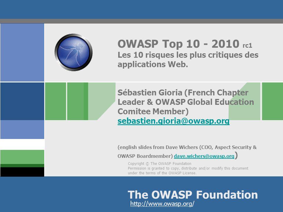 OWASP Top 10 - 2010 rc1 Les 10 risques les plus critiques des applications Web.